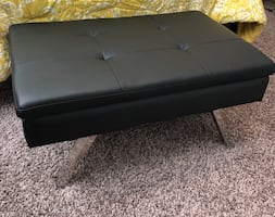 Black Leather Tufted Ottoman