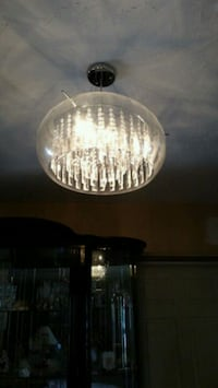 round clear glass chandelier