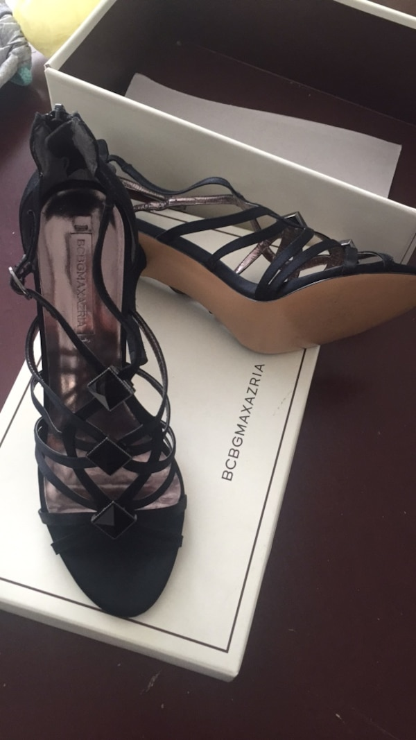 d0c4d9dbf46 Used pair of black leather open-toe heels for sale in Jackson - letgo