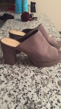 Pair of brown suede wedge shoes size 10 Edmonton, T6W 3N4