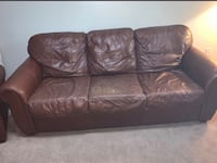 Real leather couch and recliner it is used and as you can see worn but real leather and great set getting something new New Albany, 47150
