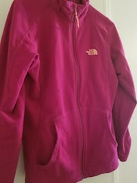 pink The North Face zip-up jacket