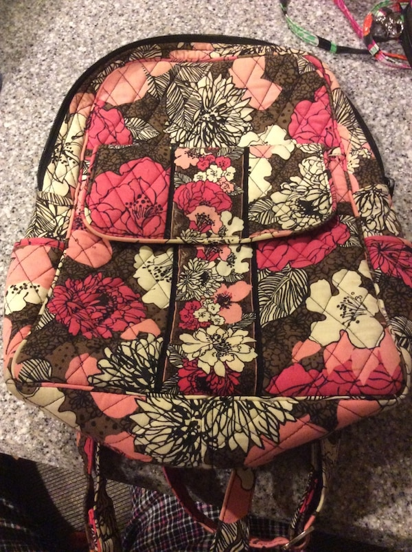 52b3812a06 Black pink and white quilted floral print Vera Bradley backpack