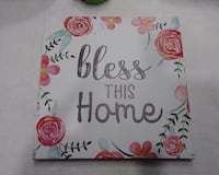 """NEW FRAMED CANVAS ART SIZE 9"""" X 9"""" """"BLESS THIS HOME"""" Palm Bay, 32908"""