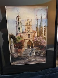 Framed and matted water color,beautiful art
