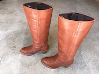 SEXY TALL BOHO VINTAGE LADIES COGNAC LEATHER U.S.A. MADE RIDING BOOTS SIZE 7 M Puyallup, 98373