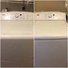 beige clothes washer and dryer set