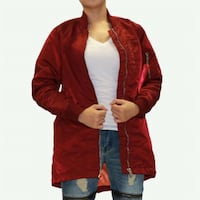 women's red zip-up jacket