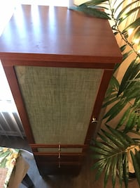 Tall wood hutch with glass shelves, 3 drawers, and silver feet Denver, 80206