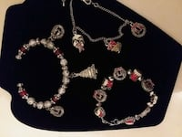 silver and red beaded necklace 1017 mi