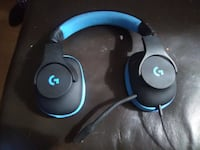 black and blue Logitech corded headset null