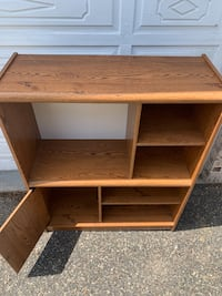 Wood Entertainment Center with shelves