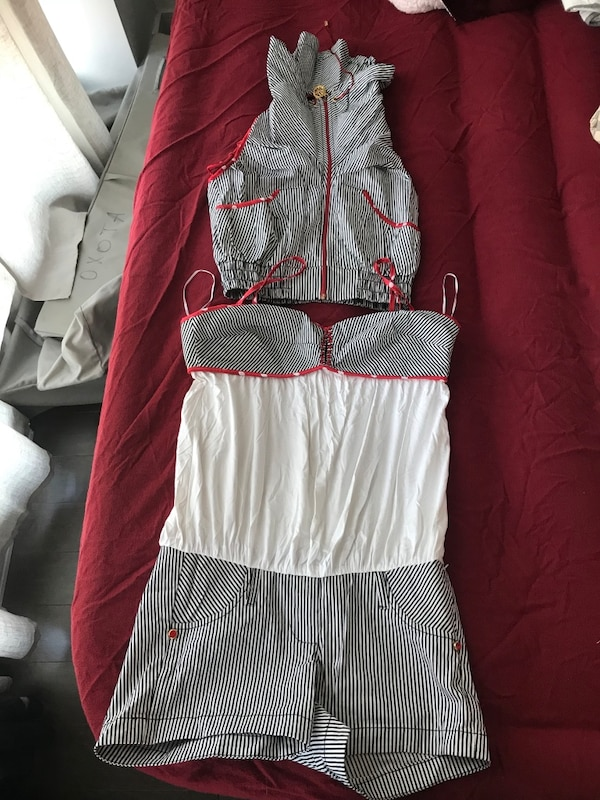 a4a2fb76b51 Used two gray and white striped sleeveless zip-up crop top and rompers for  sale in Монреаль - letgo