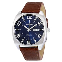 Seiko Men's SNKN37, Blue Dial Brown Leather Strap Automatic Watch, 42MM Toronto