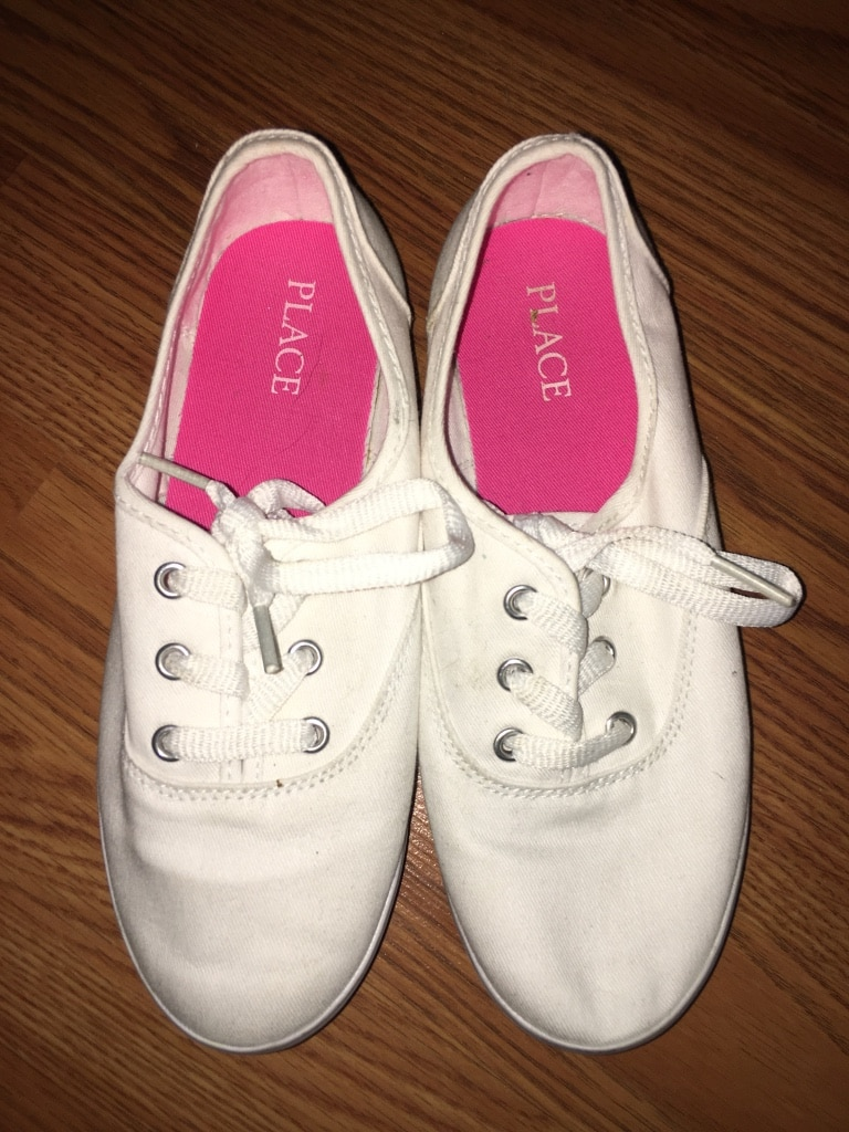Photo Girls White Uniform Lace Up Canvas Sneakers