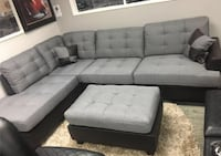 Brand new gray linen sectional sofa with ottoman Silver Spring, 20904