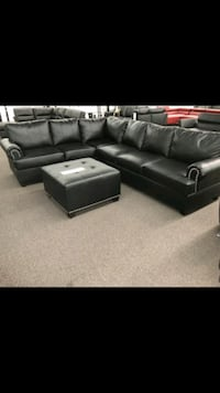 black leather sectional sofa with ottoman Los Angeles, 90011