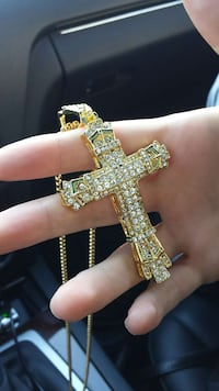 Cross ice out gold tone plated necklace