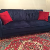 6' Sofa/Bed Combo Navy Velour , no pets, smoke, stains with 2 pillows Washington, 20003