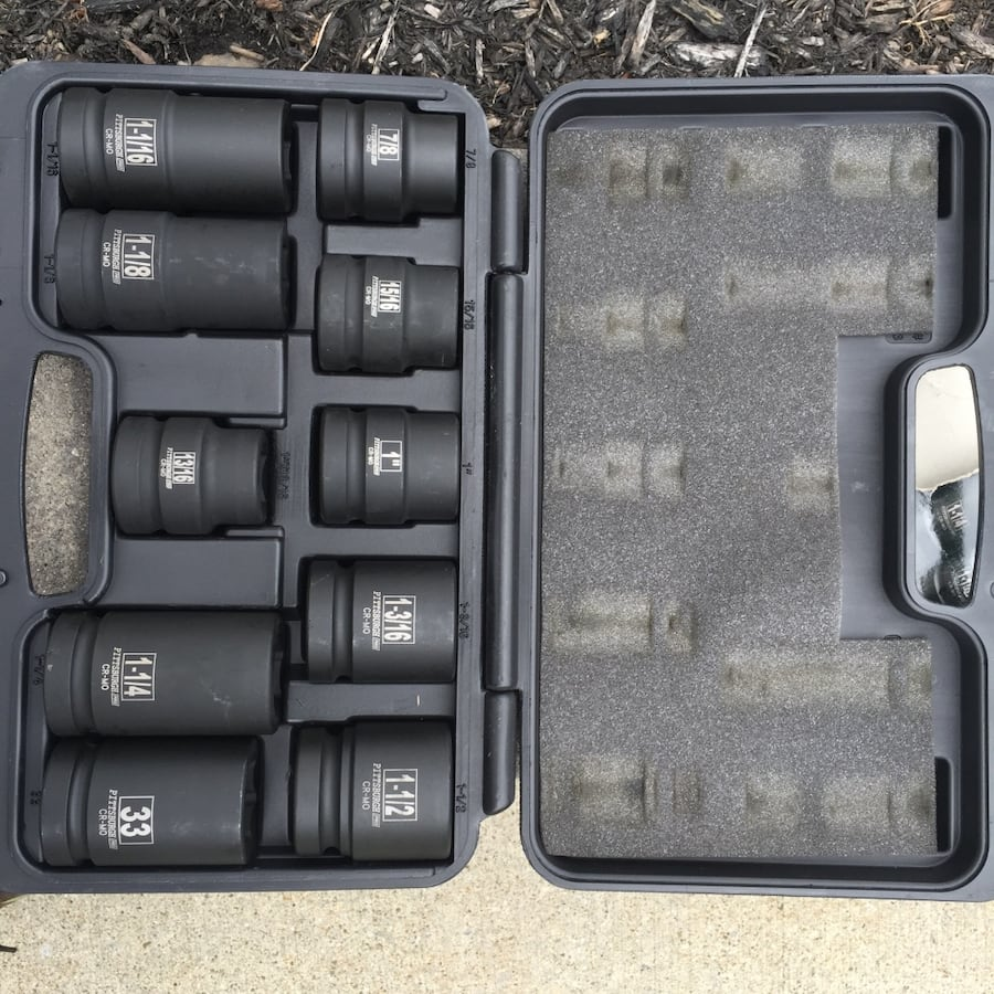 1 in. Drive SAE Impact Socket Set (New).