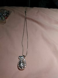 Silver grenade necklace with chain