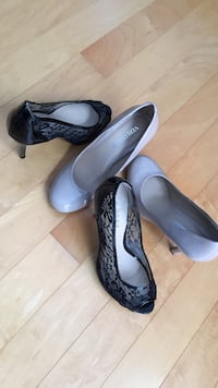 two pairs of heeled pumps