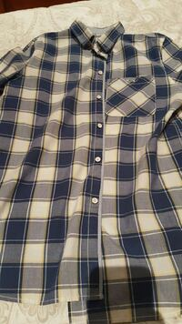 blue and white checked henley shirt Oviedo, 33009