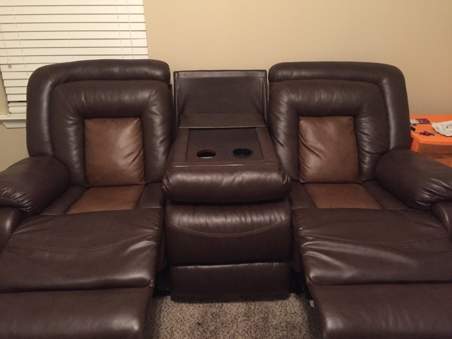 Brown Leather Home Theater Sofa