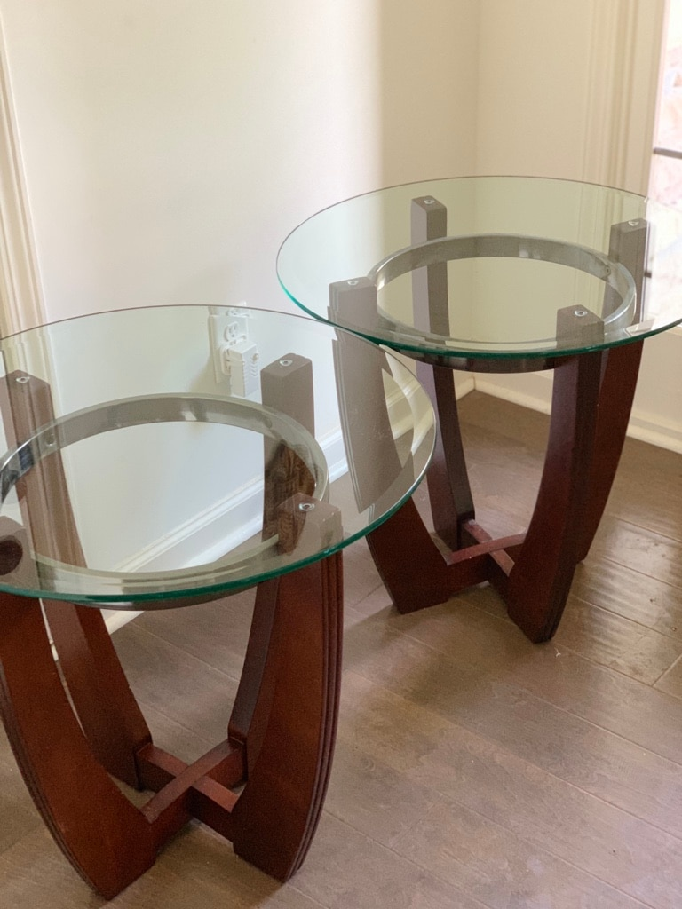 Bon Glass And Cherry Wood End Tables