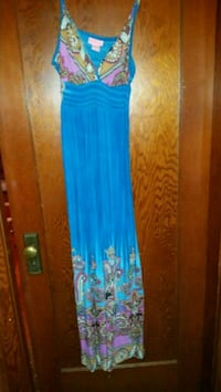 blue and gray floral sleeveless dress 3129 km