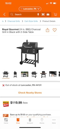 """Royal Gourmet 24"""" BBQ Charcoal Grill W/ 2 Side Tables"""