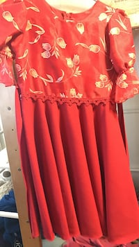 red and beige floral midi dress Alameda, 94501
