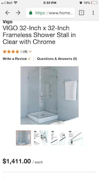 Shower base and door Vigo 32-inch x 32-inch frameless shower stall in clear with chrome