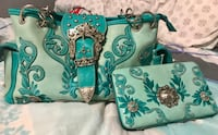 teal and white floral leather handbag Johnstown, 43031