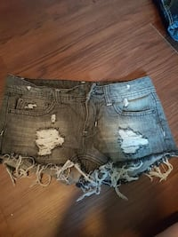 grey denim distressed shorts there size 00
