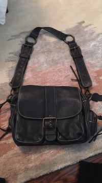Black Leather Roots Purse