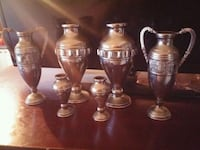 six silver vases