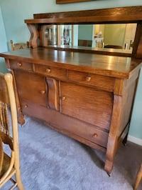 Antique Oak Sideboard, Table and Chairs
