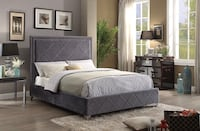 Grey Velvet Fabric Bed With Nailhead Details Vaughan, L4L 7A5