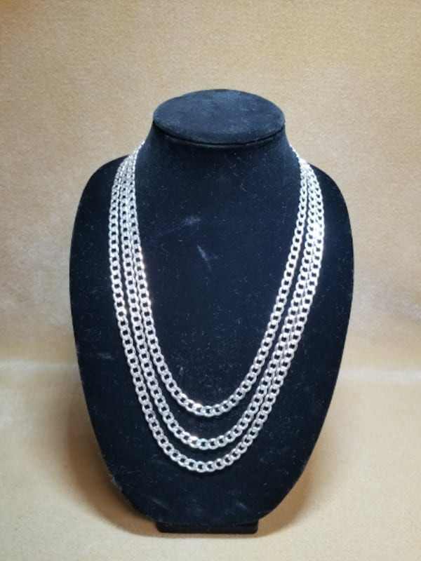 Cuban Curb Link Chain Diamond Cut Necklace .925 Sterling Silver 7mm 0