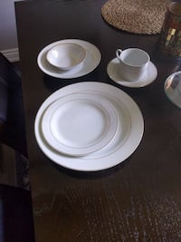 white and gold ceramic plate and cup set Beaverton, L0K 1A0