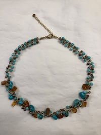 Green turquoise and amber necklace  Alexandria, 22309