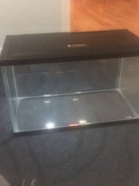 Black framed clear glass fish tank with lid and lights  Landover Hills, 20784