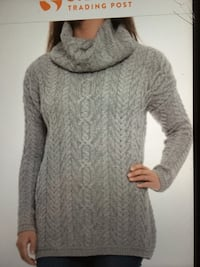 New ladies grey cowl neck pullover merino wool sweater size Large