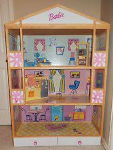 Pj Kids Wood Frame Barbie 3 Story Doll House 4 Feet