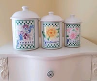 Ceramic Kitchen Canisters - Set of 3 Dover