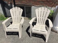 two white wooden adirondack chairs Longueuil, J4R 2J8