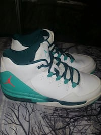 Womens white-and-teal Jordan's shoes Cypress, 77429