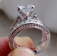 women's silver-colored and clear gemstone solitair 3731 km