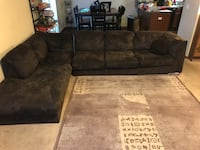 Brown suede sectional sofa no legs